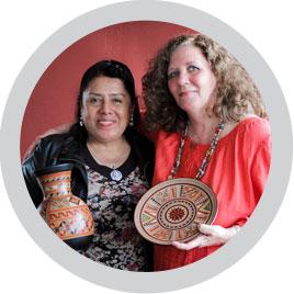 Winning curator Jenni Siri with Ubaldina Paucar